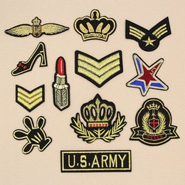 Embroidered Number Patches Australia - Wholesale Military Number Letters Patches gold patch Embroidered Iron on For Clothes Army Epaulets Patch Fabric Sticker DIY New Military Em