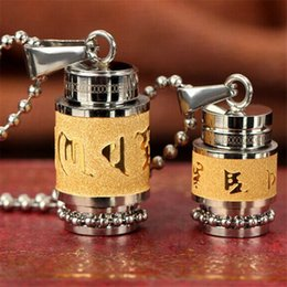 gold om pendants NZ - Titanium Steel Buddhism Jewelry Six Words Rotatable Necklace Om Mani Padme Hum Prayer Wheel Mantra Necklace Openable Bottle For Men Women