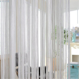Black curtains room online shopping - Knitted Home X100cm Shiny Tassel Flash Silver Line String Curtain Window Door Divider Sheer Curtain Valance Home Decoration