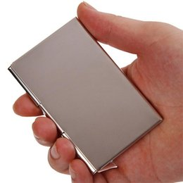 Shop business card holder stainless silver uk business card holder new waterproof stainless silver aluminium business men id holder pocket box card case cover wallet for women men reheart Gallery