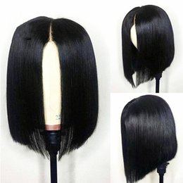 Discount remy bob wigs - Free Shipping Natural Looking 150% Density Black Short Bob Wigs For Women Remy Brazilian Lace Front Human Hair Wigs Pluc