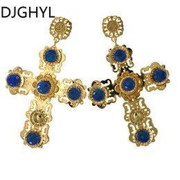 Wholesale New Design Baroque Big Cross Earrings For Women Long Earrings Vintage Rhinestone Flower Drop Earrings Fashion Jewelry