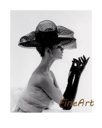 Black White Oil Art Australia - handmade canvas high qulaity audrey hepburn black and white woman portrait oil painting canvas art hanging on wall