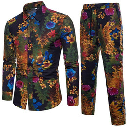 Chinese  FDWERYNH Gothic Shirts Men Shirt Pant Sets Elegant Party Sexy Shirts Suit Mens Streetwear Fashion Sets 2018 Beach Clothing manufacturers