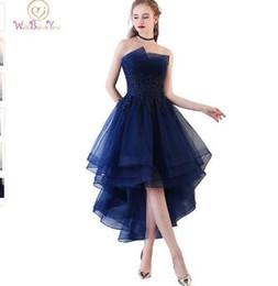 Strapless Sequin Red Dress Australia - Walk Beside You Navy Blue Evening Dresses Short Front Long Back Party Gowns Lace Applique Strapless vestidos de festa Formal