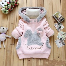 rabbit sweatshirt girl NZ - Hot Girls bunny sweatshirts cartoon rabbit bear plush velvet fleece sweatshirt hoodie cute pullover outwear pink gray coat