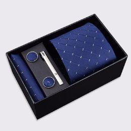 Wholesale men 8cm necktie set pocket square sleeve button tie clip hanky neckwear and handkerchief set necktie cuff link boxed gift