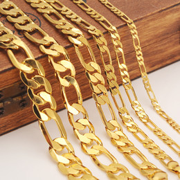 Necklace italiaN gold online shopping - Mens women s Solid Gold GF mm Width Select Italian Figaro Link Chain Necklace bracelet Fashion Jewelry