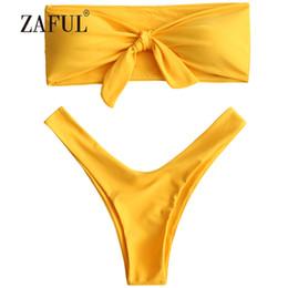 b568dda494308 wholesale Bikini Knotted High Cut Bandeau Bikini Women Swimsuit Sexy  Strapless Padded Swimwear Solid Swimming Suit Brazilian Biquni