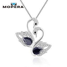 sterling sapphire necklace 2020 - Mopera 925 Sterling Silver Fine Jewelry Elegant Animal Charm Pendant With Chain Natural Sapphire Women Swan Pendant Neck
