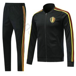 67394a8d172f 2018 World Cup Belgium Football Jacket Custom Home Black Soccer Training  Suit Kit Tracksuit Chandal Set Sportswear Sports Long Skinny Pant