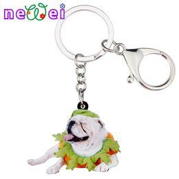 76cdd073f61 NEWEI Sweet Acrylic Halloween French Bulldog Key Chains Keychains Rings  Animal Fashion Jewelry For Women Girls Bag Gift Charms