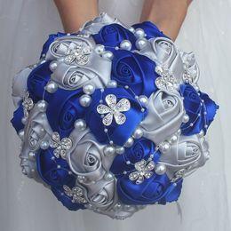 Bridal Bouquet riBBons online shopping - Royal Blue Silver bouquet Rose Bridesmaid Wedding Foam flowers Rose Bridal bouquet Ribbon Fake Wedding bouquet Customized w224
