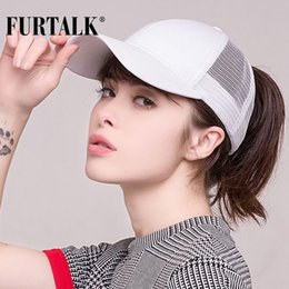 Ponytail Caps Canada - FURTALK 2018 Ponytail Baseball Cap Women Messy Bun Baseball  Hat Snapback 6aa65601f7b