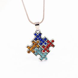 Kids jewelry rope chain online shopping - Autism Awareness Jigsaw Necklace Multicolor Crystal Puzzle Piece Pendant Necklace Jewelry for kids Men Women