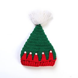 Santa Beanies UK - Christmas Cap Soft Plush Santa Claus Beanies Hat For Baby Knitted Crochet With Ball Holiday Xmas Party Hat
