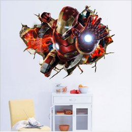Chinese  The Avengers 3D Stickers Waterproof Self-adhesive PVC Wall Stickers Wallpapers Arts Murals Can Removable Boy Bedroom Background Decoration manufacturers