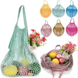 ToTe boxes online shopping - Mesh Net Shopping Bags Fruits Vegetable Portable Foldable Cotton String Reusable Turtle Bags Tote for Kitchen Sundries CCA9849