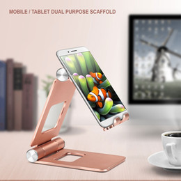 folding tablet stand for iphone UK - Universal Folding Aluminum Alloy Desktop Tablet Mobile Phone Stand Holder for Desk for iphone X 8