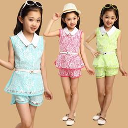 $enCountryForm.capitalKeyWord Australia - 2018 Summer Lace Girls Clothes Fashion 2Pcs Children Clothing Girls Set Sleeveless Tops + Shorts Kids Suits for Toddler Girls
