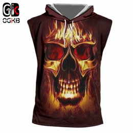 Chinese  OGKB Summer Tank Top With Hood Women men's Cool Print Flame Skull 3D Cap Vest Singlets Man Casual Sleeveless Hoody Pullovers 7XL manufacturers