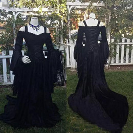 vintage victorian lace NZ - Vintage Black Gothic Lace Wedding Dresses A Line Medieval Off the Shoulder Straps Long Sleeves Corset Bridal Gowns Victorian Dresses