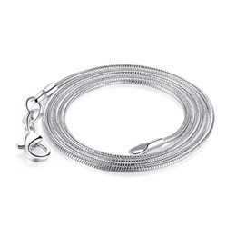 $enCountryForm.capitalKeyWord Canada - Big promotion ! 1MM 925 Silver Snake Chain Necklace with Lobster Clasps Jewelry chains For Pendant DIY 16inch to 24 inch 100pcs lot