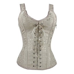 Ladies Gothic Lace Up Lingeries Tights Corset Side Zip Bodyshaper Vest Tops  Sexy Bustier Slim Waist Trainer Cincher 922314fed