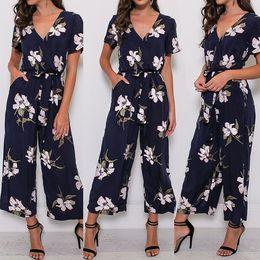 $enCountryForm.capitalKeyWord NZ - Playsuits Bodysuits for female Women V Neck Loose Playsuit Ladies Party Romper Short Sleeve Floral Print Long Jumpsuit S-5XL