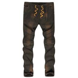 $enCountryForm.capitalKeyWord UK - HEFLASHOR New Men's Street Biker Folds Comfortable Jeans Male Pleated Tight Slim Denim Elastic Waist Motorcycle Male Trousers