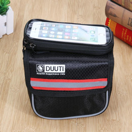 Wholesale 4 Colors Bicycle Frame Bag Pannier D Nylon Cycling Front Tube Bag Touch Screen Bike Phone Holder Mobile Phone Bag for iPhone
