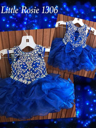 cupcake pageant dresses for infants Canada - Cupcake Toddler Infant Pageant Dresses 2019 Little Rosie Rhinestones Royal Organza Short Pageant Dress for Little Girls Bow Keyhole Back