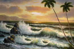 ocean waves canvas oil painting UK - Framed seascape ocean waves Seabirds in sunset with tree,Perfect Pure Hand-painted Seascape Art oil painting on canvas Multi sizes Sc044