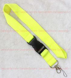 Phone Chain Color Australia - 10 pcs Popular Solid color Lanyard Removable Key Chain moble phone ID card neck strap Badge Pendant Party Gift Favors Fluorescent yellow