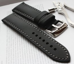 $enCountryForm.capitalKeyWord NZ - Imported nylon black watchband watch band strap fiber inner real leather strap 20mm waterproof common using all Brand flat end