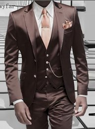 Stylish Suit Image Australia - Brown Satin Men Suit Formal Italian Design Tuxedo Custom Stylish Blazer Masculino Suits 2018 Jacket Pants Vest 3Pcs