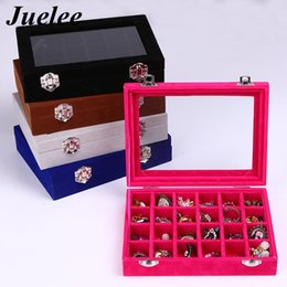 Ring Case Holder Displays Australia - Juelee Tray Jewelry Velvet Ring Box Display Earring Show Storage Organizer Women Fashion 24 Grid Case Glass Holder Stand