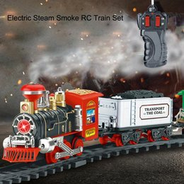 plastic train track set 2019 - Classic Electric Dynamic Steam RC Track Train Set Simulation Model Toy For Children Rechargeable Children Remote Control