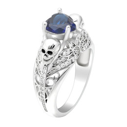 Chinese  White gold color ring White Royal Blue with skeleton Wedding birth cz paved zircon cut modern Vintage Skull design rings jewelry manufacturers