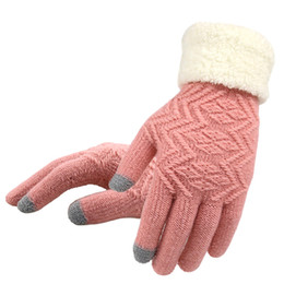 $enCountryForm.capitalKeyWord Australia - Women Knitted Gloves Touch Screen Female Thicken Mittens Winter Warm Gloves Ladies Full Finger Soft Stretch Knit Mittens Guantes