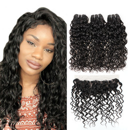 Free shipping wavy hair online shopping - A Brazilian Water Wave With Frontal Peruvian Wet and Wavy Hair Bundles With Lace Frontal Malaysian Natrual Wave Free Ship