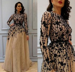 Royal blue womens evening gowns online shopping - 2018 Gorgeous Beading Prom Gowns with Long Sleeves Lace Crew Neckline Evening Dresses Champagne Elegant Womens Dress Plus Size Formal Wear