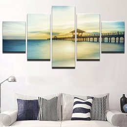 art canvas prints Australia - No Frame Canvas Painting Art Poster Wall Picture 5 Pcs Bridge Home Decor Lake Print On Canvas For Living Room Modern Printing