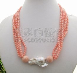 Indian Coral Beads Australia - Charming! 30mm Bead-Nucleated Pearl&Coral Necklace