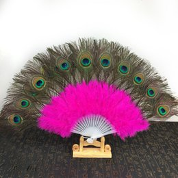 Peacock Dance Costumes NZ - 5pcs Handmade Feather Fan Peacock for Belly Dance Accessory Vintage Party Halloween Costume Ornaments 28 Fan Bones