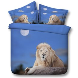 Wholesale 3D lion bedding sets moon duvet cover blue bedspreads comforter cover Bed Linen Quilt Covers animal bed cover for lovers girls adults