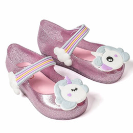 jelly shoes for Canada - Melissa 2018 Unicorn New Summer For Mini Shoes Girls Dargon Sandals Jelly Shoe Fish Mouth Girl Non-slip Kids Sandal Toddler