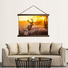 $enCountryForm.capitalKeyWord UK - Canvas HD Prints Poster For Interior Home Decoration Elk Sunrise Forest Paintings With Solid Wood Hanging Scroll Deer Pictures