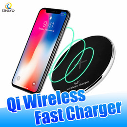 wholesale iphone cell phone docks Australia - Ultra Slim Fast Wireless Charging Pad 10W 9V Quick Charger N300 Zinc Alloy Metal Desk Chargers for iPhone Samsung Qi-enable Cell Phones