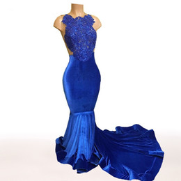 China Royal Blue Mermaid Prom Dresses 2017 Real Picture Sexy See Through African Black Girls Gold Lace Velvet Cheap Custom Gowns suppliers